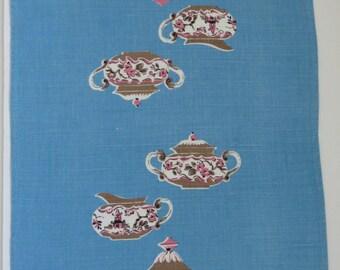 Vintage Sky Blue Tea Time Dish Tea Towel - Tea Pot Creamer Sugar Bowl Kitchen Towel - Shabby Chic Country Cottage Decor - Gift