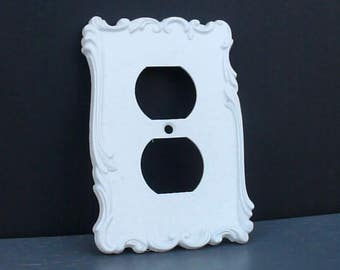 Gorgeous White ORNATE Vintage Outlet Cover French Provincial Paris Apartment Luxe Glam Wall Home Decor