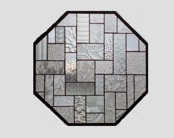 Stained glass panel window octagon clear geometric stained glass window panel abstract suncatcher beveled glass 0218 18 x 18