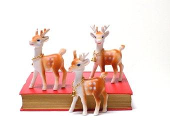 Mid Century Trio of Christmas Plastic Reindeer