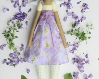 Rag doll, fabric doll, Tilda Angel doll stuffed doll lilac purple yellow roses blonde cloth doll Guardian Angel doll, baby shower gift
