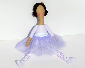 Princess doll ballerina doll rag doll, pastel lilac purple brown hair doll handmade cloth doll stuffed doll softie, rag doll ballet dancer