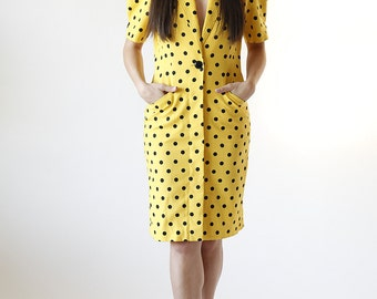 80s Primrose Yellow and Black Polka Dot Pencil Dress size Medium