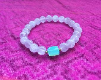 PERUVIAN OPAL and Purple Jade mala bracelet
