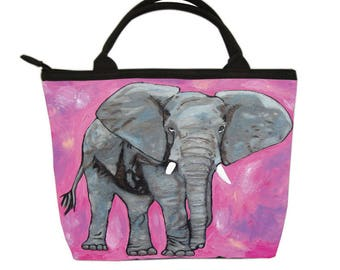 Elephant Small Purse, Handbag- Female African Elephant -From my Original Oil Painting, Kelly - Salvador Kitti