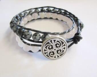 Snowflake Obsidian Double Wrap Leather Bracelet-Double Wrap Bracelet-Leather Bracelet-Button Bracelet-Snow Flake Obsidian Bracelet