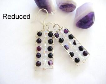 Purple Earrings, Amethyst and Crystal Earrings, Sterling Silver Earrings, Amethyst Swarovski Crystal Earrings, Purple and crystal earrings
