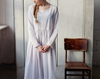 White Cotton Dress, WHITE Petticoat Dress, Wоmens Slip, Lingerie Dress, House Dress, Hostess Dress, Womens Loungewear, Cottage Dress