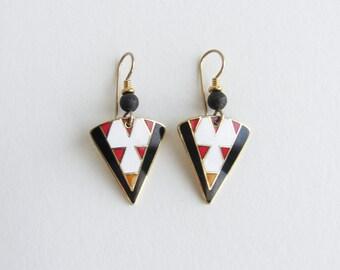 "Laurel Burch ""Ranya"" Triangle Abstract Vintage Enamel Dangle Earrings"