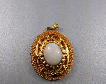 Vintage Gold filled Large Opal pendant