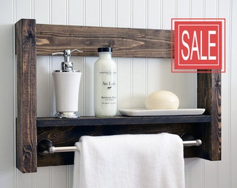 Bathroom Shelf With Towel Bar - Metal Hooks - Modern Rustic Decor - Wall Hanging - Cottage - Bath Decor - Industrial - Reclaimed - Salvaged