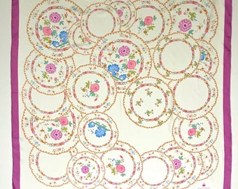 Vintage Silk Scarf Foulard, Yves Delorme Paris, Pink Floral China Plates