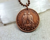 Falcon Necklace - 1975 Isle of Man FALCON COIN NECKLACE - Peregrine falcons - falconry - bird coin pendant - coin jewelry - mens necklace