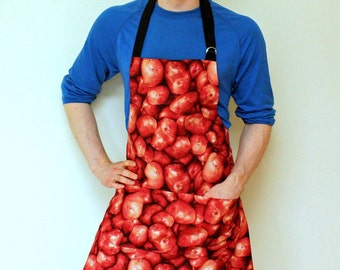 Mens Apron, Potato Print Mens Apron
