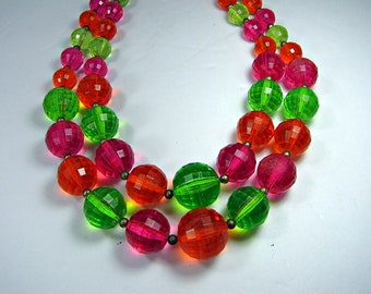 Vintage TROPiCAL Colors BEADED NECKLACE Signed CORO Faceted Plastic Beads Double Strand Costume Jewelry
