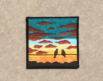 Turquoise Twilight, 8x8 inches, sewn fabric art, sewn on a 1968 Singer, all recycled fabrics, ready to hang canvas
