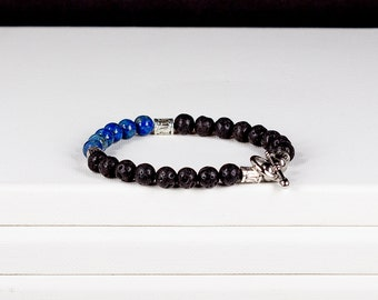 Mens Bracelet Lava Rock and Lapis Lazuli with Stainless Steel Toggle Clasp