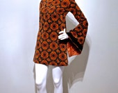 RARE 1960s GERALD McCANN Velvet Psychedelic Bell Sleeve Mini Dress // Swinging London Era // Iconic British Boutique Label