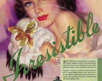Irresistible Perfume ad (1937) - 10x14 Giclée Canvas Print
