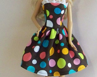 Handmade Barbie Doll Clothes-Brown with Multi Colored Dots Cotton Print Barbie Dress