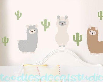 Llama Wall Decals, Llamas Nursery Art, Reusable Fabric Wall Stickers, Set of 3 Alpacas for Baby Room, Cactus Wall Decals