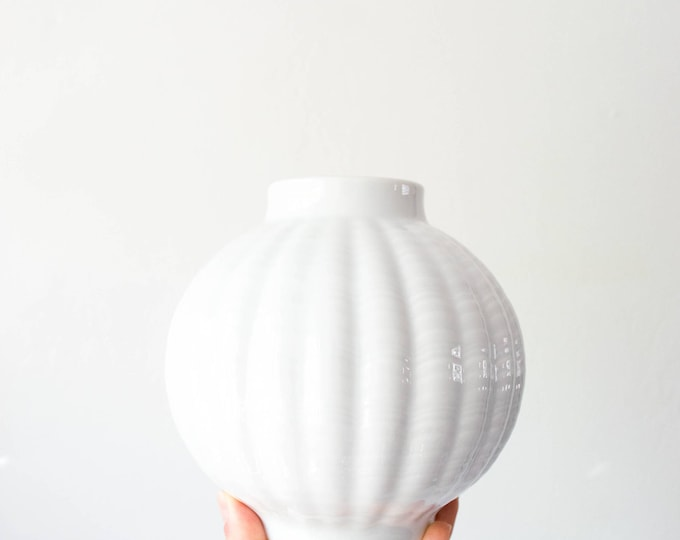 Mid Century Glazed White Porcelain Globe Vase // Eschenbach // Modernist Home Decor