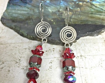 Red Spiral Earrings - Spiral of Life, Red Jewelry, Red Flowers, Shades of Red Earrings, Spiral Goddess, Ammonite Jewelry, July Jewelry, Ruby