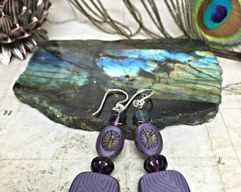 Purple Earrings - Party Jewelry, Womens Jewelry, Boho Chic, Purple Jewelry, Purple Squares, Jewelry Gifts, Dangle Earrings, Geometric Design