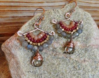 Jolt. Artisan Hammered Brass Drop Earrings with Wire Wrapped Gemstones-Labradorite, Peach Moonstone, Smoky Quartz, Tribal Brass, Boho Gypsy