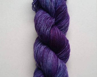 Amethyst: hand dyed variegated Merino sock yarn by Star Fiber Studio