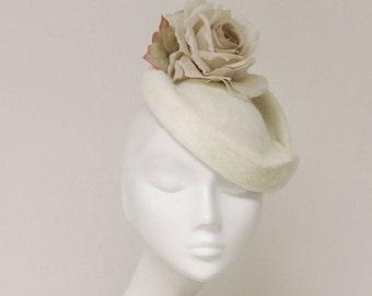 The Flossieme Bridal Hat - Ivory Silk Rose Saucer Hat - Wedding Fascinator - English Wedding Hat
