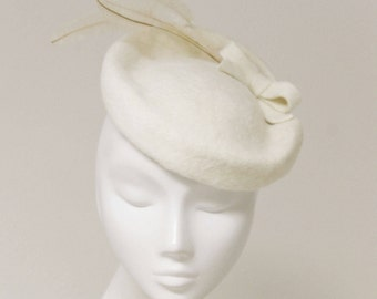 The Emiele Bridal Hat - Ivory Hat - Feather Saucer Hat - Wedding Fascinator - English Wedding
