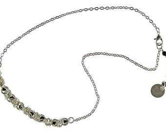 Silver Swarovski Captured Crystal Necklace, chainmaille crystal necklace, chainmail, caged crystal, sterling silver, captive crystal