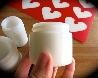 Vintage Milk Glass Jar-Large Vintage Cosmetics Jar, Bottle-White Milk Glass Container-Vintage Vanity Bottle-1900's Make-Up Jar-Apothecary