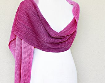 Woven scarf, pashmina scarf, ombre scarf, gradient color purple pink long scarf with fringe, gift for her