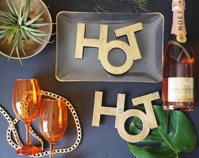Vintage Solid Brass HOT Sign Trivet