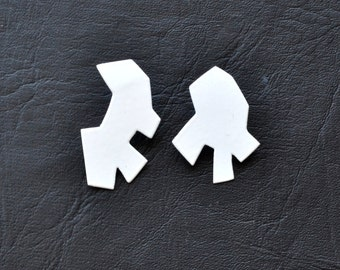 Minimalist geometric asymmetric stud earrings, hand cut random shapes powdercoated in matte white,