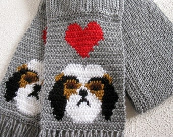Shih Tzu dog scarf.  Grey knit and crochet scarf with shih tzu's and red hearts