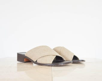 90s Italian Ecru Canvas Slides / Women's Sandals Size 7.5 US - 38 Eur - 6.5 UK
