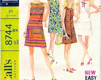 Cute Mod Vintage 1960s McCall's 8744 Easy Sleeveless A Line Mini Shift Dress in 6 Versions Sewing Pattern B31