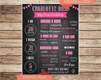 Girl First Birthday Chalkboard Sign/ Printable Girl Birthday Chalkboard / Girl Birthday Chalkboard/Pink and Purple Girl Birthday Chalkboard