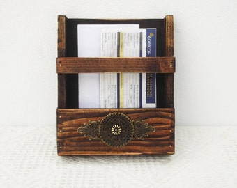 Mail Holder, Wooden Wall Post Holder,  Wall Organizer,  Rustic Wall Hanging Storage, Letter Rack, Holder, Entryway Organizer