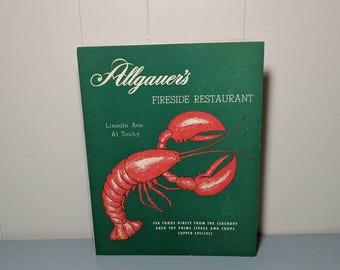 Vintage Allgauers Fireside menu / lobster graphics / 1952 seafood restaurant / ephemera advertising / Lincolnwood Chicago IL Illinois