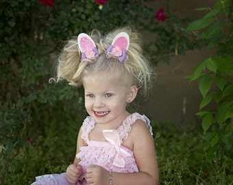 Glitter Bunny Ears,Bunny Hair Clips,Felt Bunny Ears,Lavender Pink,Easter Hair Bows,Toddlers Girls,Photo Props