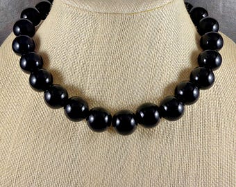 Gumball Necklace, Black, Statement Necklace, Chunky Necklace, Round Bead Necklace, Strand Necklace, Beaded Necklace, Round Beads, Black