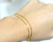 Two chains delicate gold Bracelet, Two chains, Thin and feminine, Minimum Jewelry, Delicate Gold Chain Bracelet, everyday jewelry