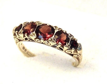 Garnet Victorian Style Eternity Ring,1.20 Carats,Anniversary, Wedding, 9K Yellow Gold, 5 Garnet Ring