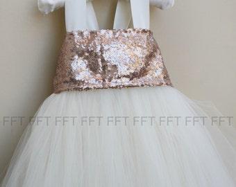 Rose Gold Sequin Flower Girl Tutu Dress