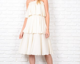 Vintage 80s Tiered Flapper Dress Boho Hippie Cream Small Medium S M 8691