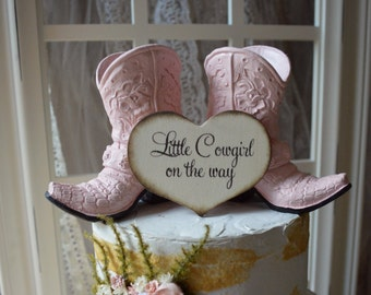 boots cake topper shower birthday sweet sixteen gender reveal party pink blue he or she western themed baby shower it's a girl boy gift